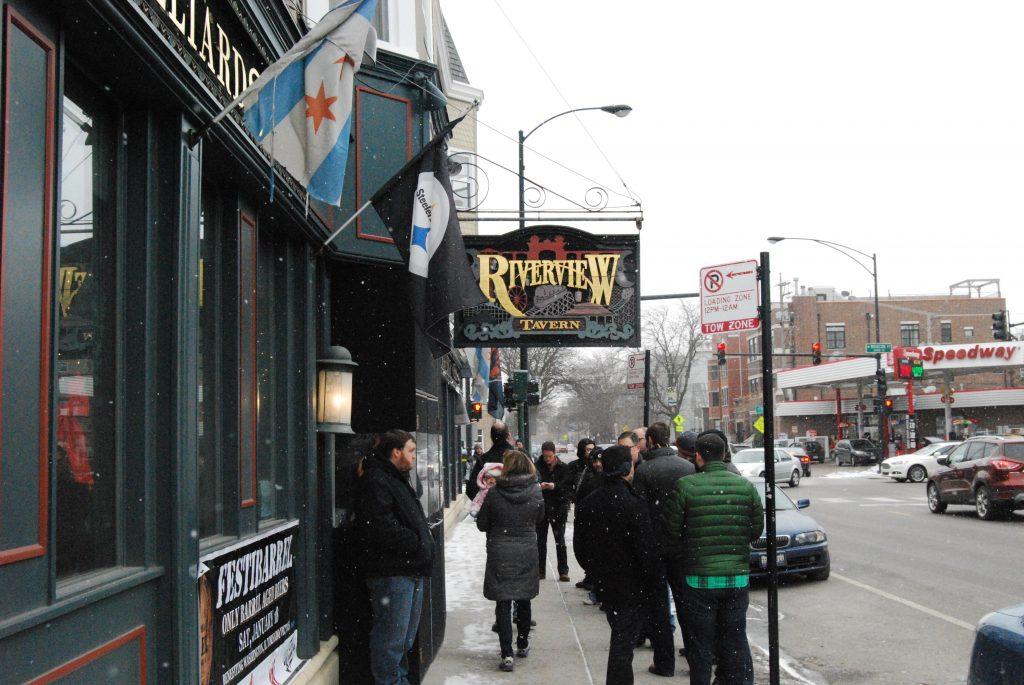The line to enter the Riverview Tavern around 11:55.