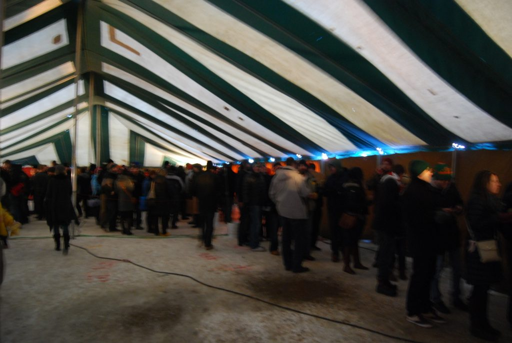 And the line inside the heated tent.
