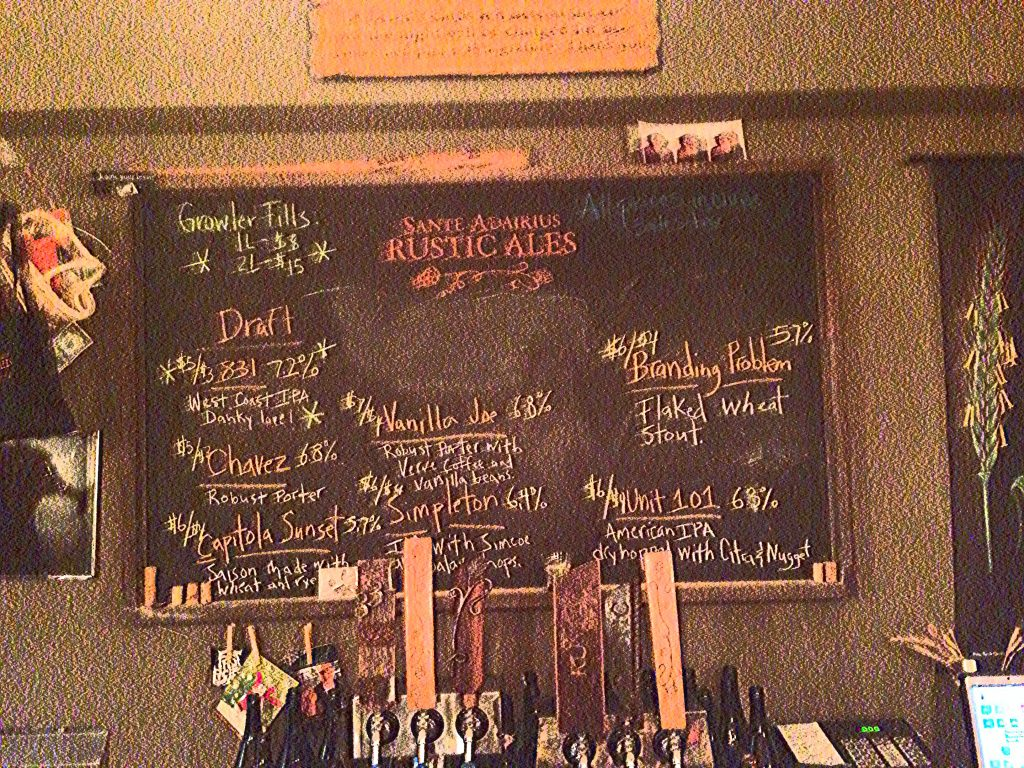 "What? No picture of the Sante Adairius etching outside? It was rainy and dark, so here's the ""rustic"" tap list."
