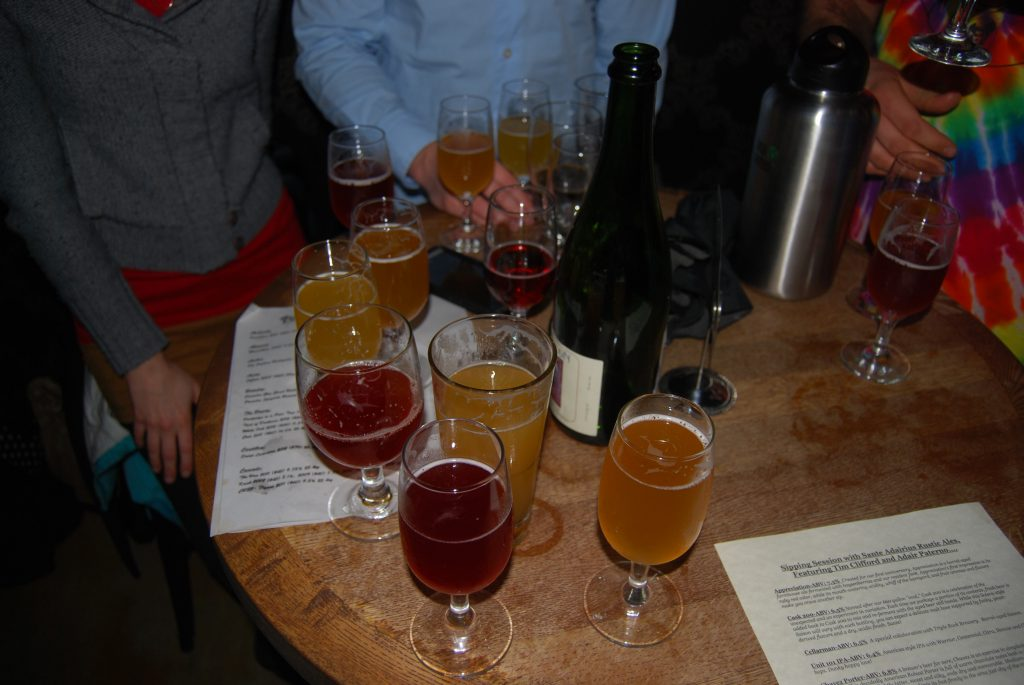 Our table, full of Sante Adairius (and a Cantillon).