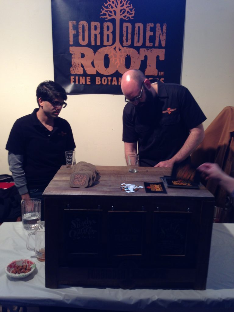 BJ pouring one of Forbidden Root's offerings.