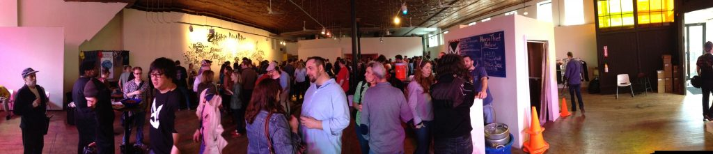 Panoramic of the Mash Tun space - crowded, but not overly so.