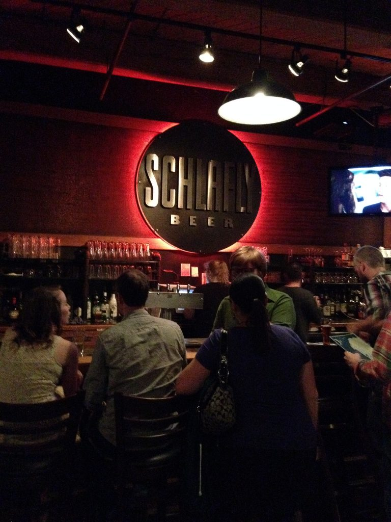 The smaller bar (the one that stays open longer) at the Schlafly tap room.
