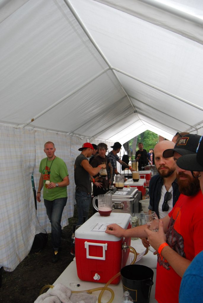 The draft tent, with volunteers hard at work.