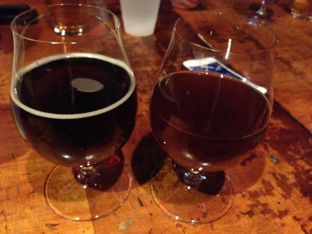 My pours of Chickory Dickory Choc Brown Ale (left) and Good Gourd Almighty (right).