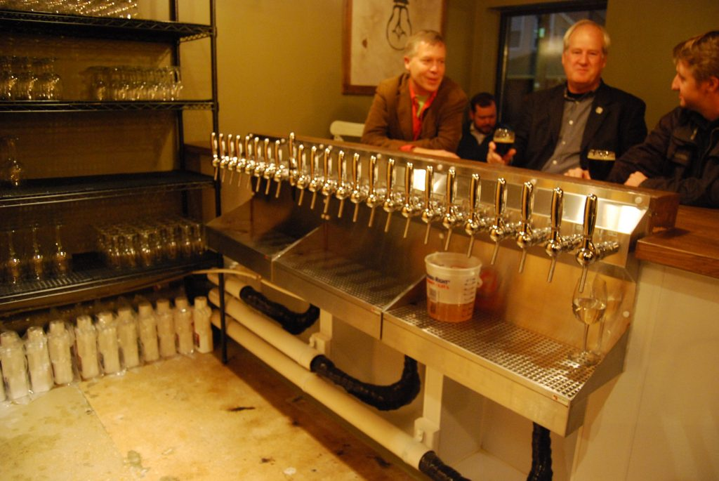 Side Project Cellar's 24 taps, able to dispense at three different temperatures.
