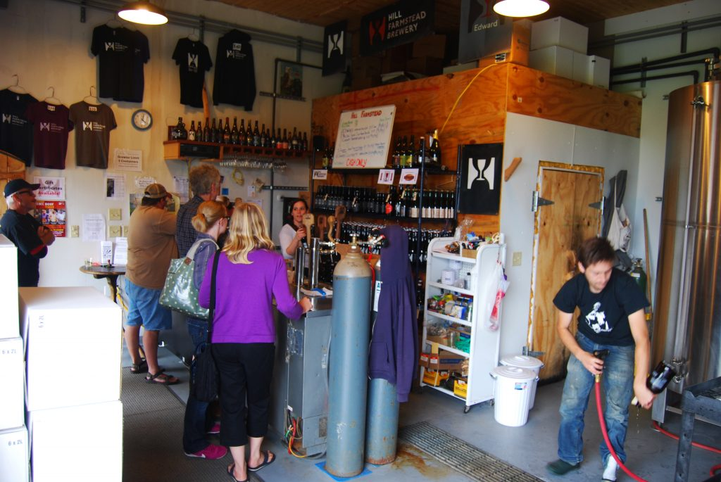 The old retail area, now keg and bottle storage and brewing equipment. (July 2013)