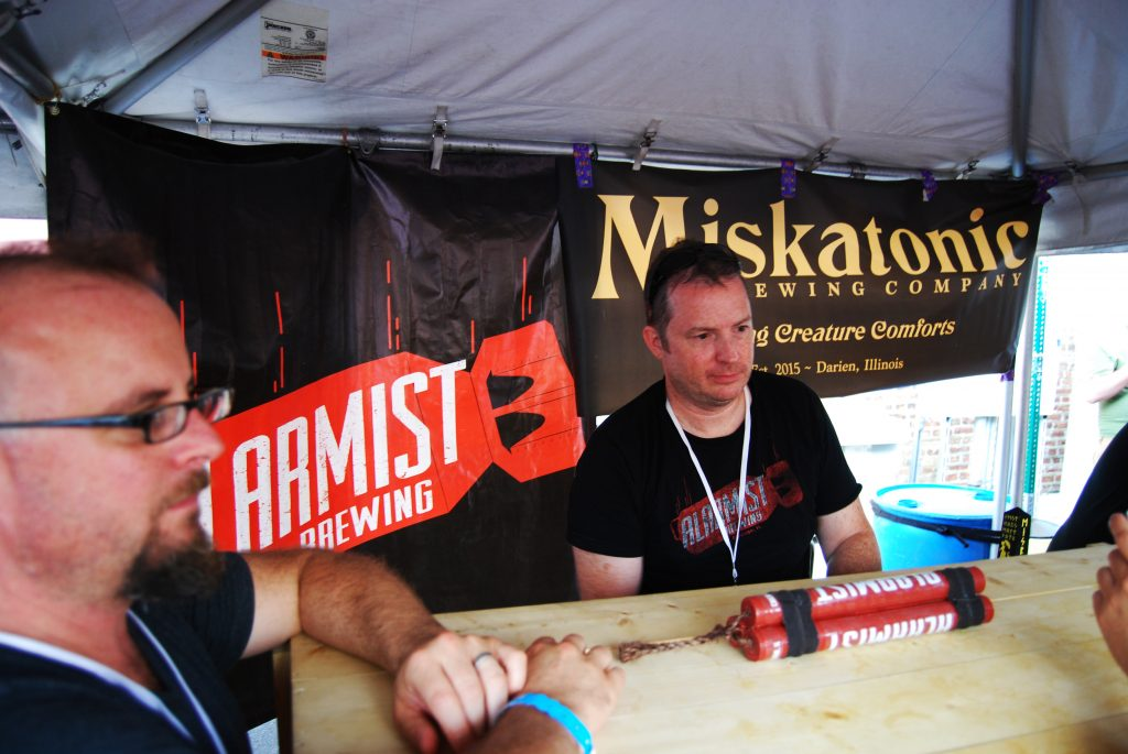 Gary Gulley of Alarmist with his sweet hand-made tap handle.