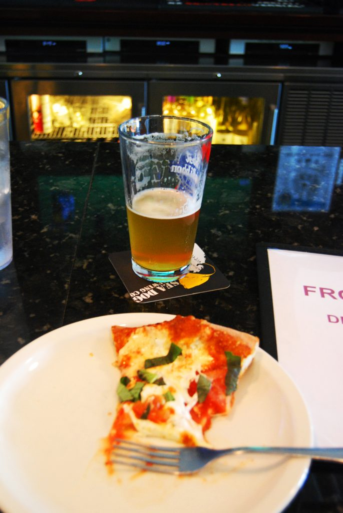 Deciduous' Foreward with a Front Row margherita pizza.