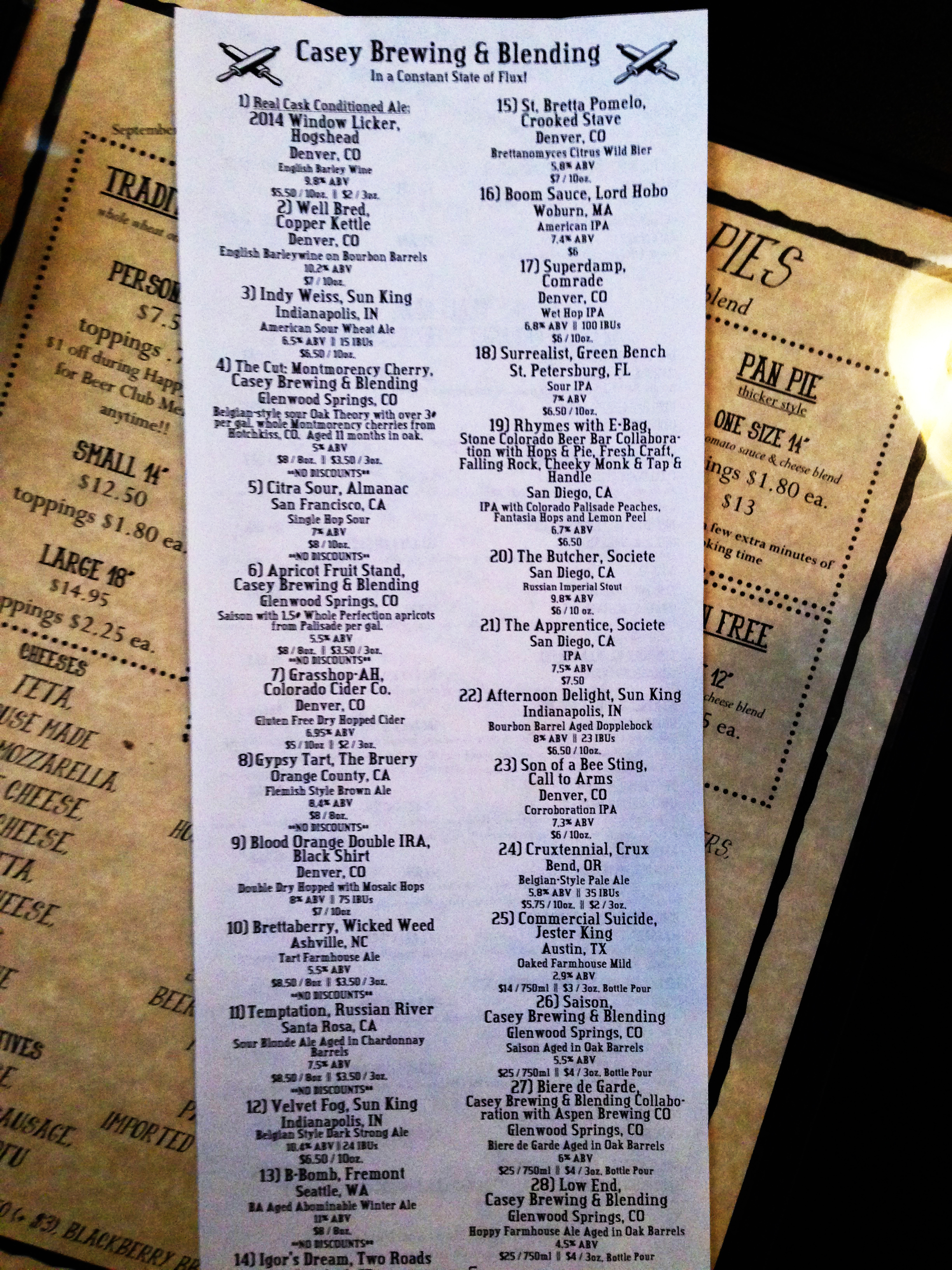 The stupid good tap list for at Hops and Pie. Too bad I had to go to GABF that day!