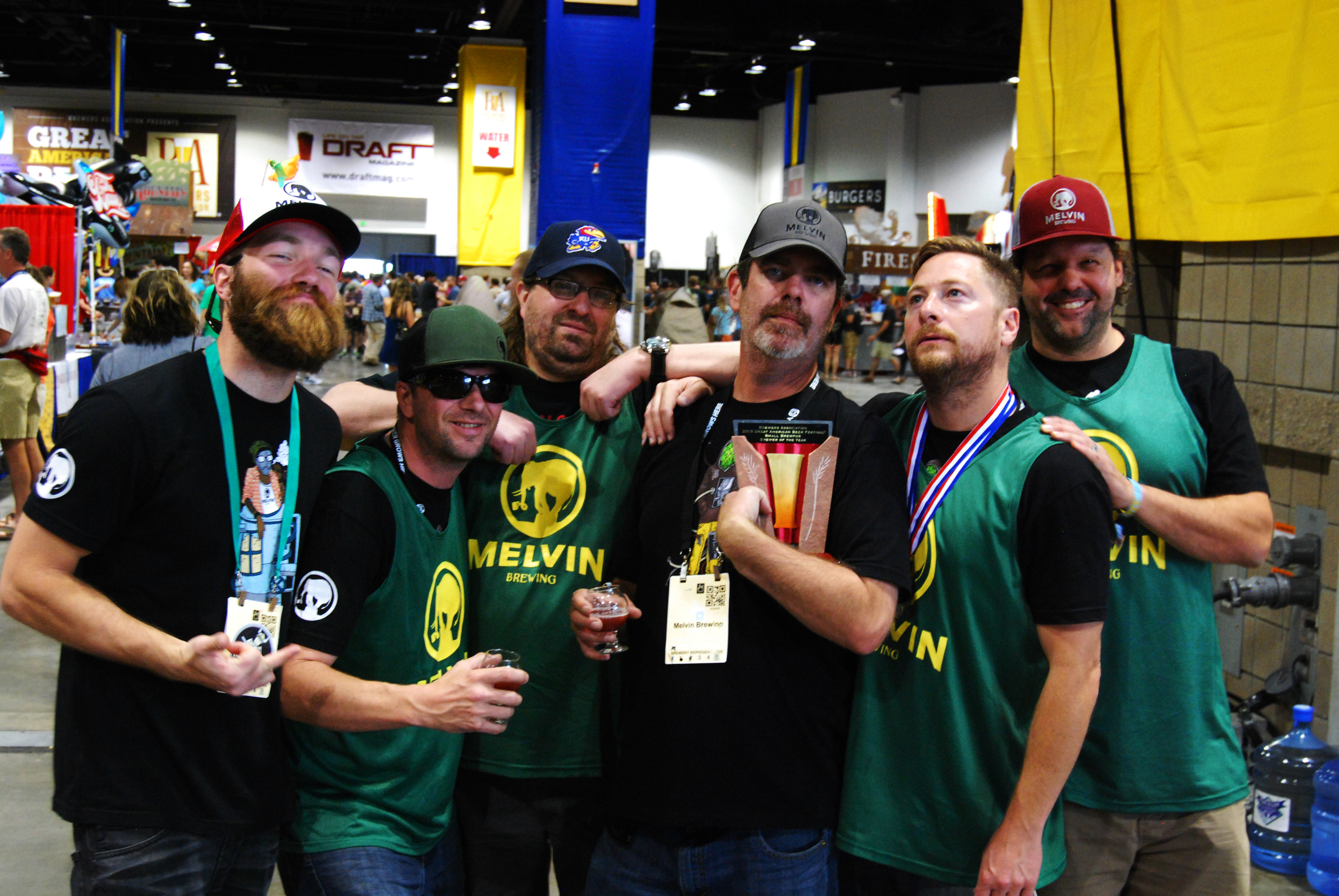 The entire Melvin crew, celebrating their win for Small Brewpub of the Year.