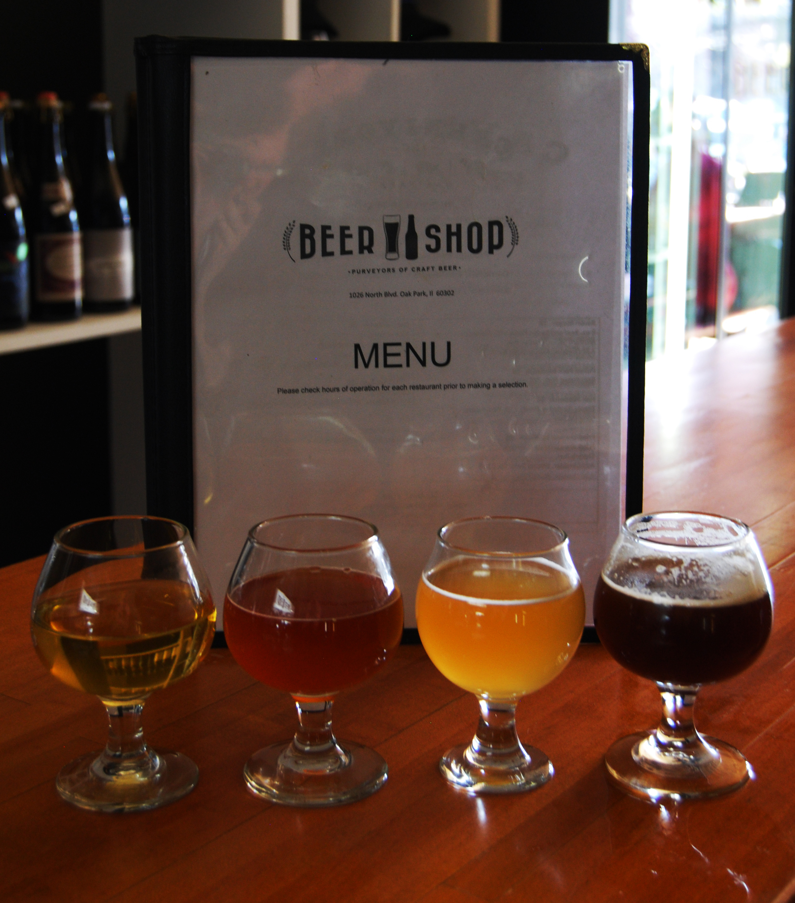 The beers, from left to right: Oaked Maple, Interlude, Wakatu Sour, Prearis Grand Cru 2013.