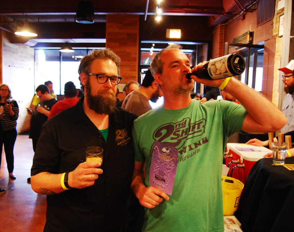 Mike and Steve of 2nd Shift Brewing accepting their Crotchee while on LSD!