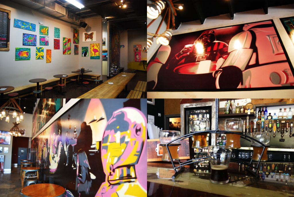Clockwise from top left: Wynwood Brewing Co.'s taproom, Wakefield Mural 1, a flight of Flagler Brewing beers at The Brass Tap, Wakefield mural 2