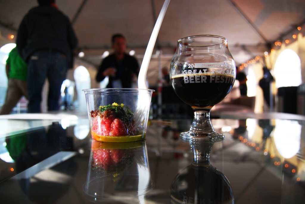 Beef brisket tartare with Iron Hill Brewery's Russian Imperial Stout