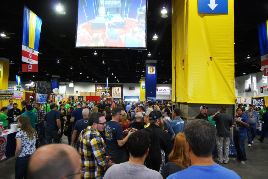 See the red drape in the middle-left background? That's the Russian River booth.