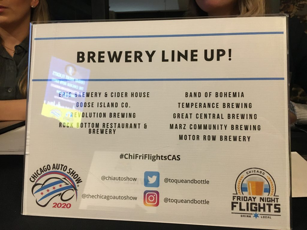 Chicago auto show friday night flights brewery list